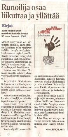 Aamulehti 30.12.2009